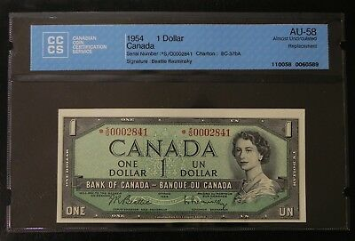 1954 $1 Canada Bank Note CCCS Certified AU-58 Replacement