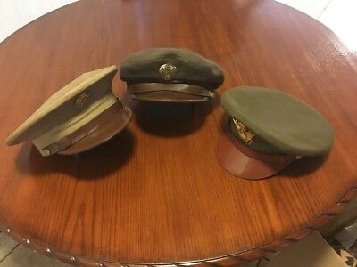 WW2 US Army Officer's Hats -  Lot Of 3