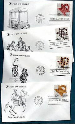 Usa -  Fdc   1978  All 4 American Quilts  Covers   -