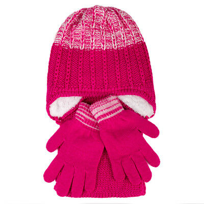 Girls' Hat, Scarf and Gloves Set 6-13 Years Pink