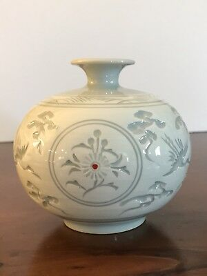 Korean Celadon Glazed Ceramic Pottery Green And White Round Vase