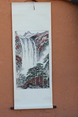 Chinese Watercolor Painting Waterfall Wall Hanging Scroll
