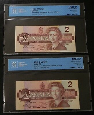 2x 1986 $2 Seq. Canada Notes CCCS Certified UNC-67 Gem Uncirculated Replacements