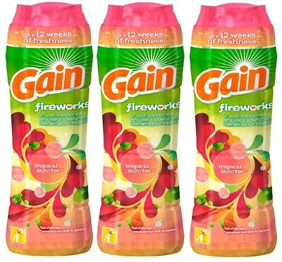 3x Gain Fireworks TROPICAL SUNRISE In-Wash Scent Laundry Booster 9.7 Oz Each !