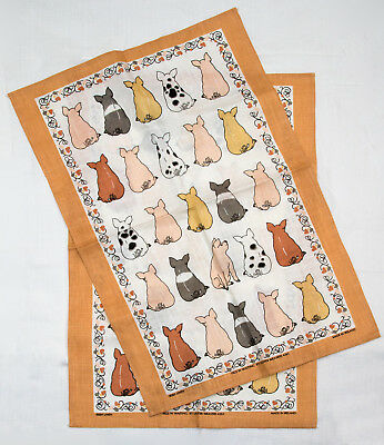 2 ULSTER WEAVERS IRISH LINEN TOWELS - Pigs in Waiting Made In Ireland 4261