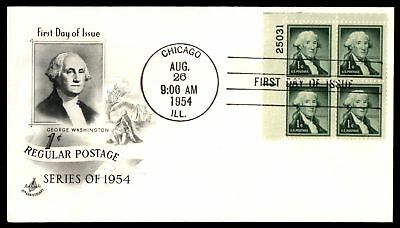 Mayfairstamps US FDC 1954 GEORGE WASHINGTON US 1c ISSUE PLATE BLOCK ARTCRAFT UNS