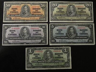 Nice Set of 1937 $1-$50 Canada Bank Notes with Gordon/Towers Signatures