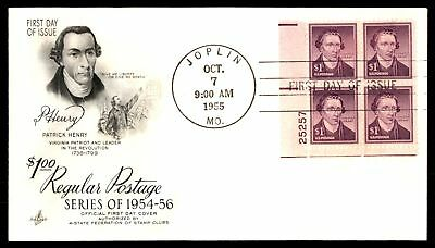 Mayfairstamps US FDC 1955 PATRICK HENRY PLATE BLOCK ARTCRAFT SEALED