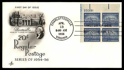 Mayfairstamps US FDC 1956 MONTICELLO US 20c ISSUE PLATE BLOCK ARTCRAFT UNSEALED