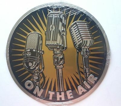 "New ""on The Air ""embossed Metal Sign Broadcaster Microphone Media Music Room"
