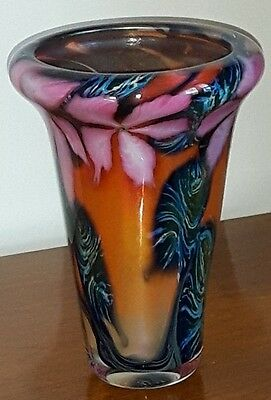 Gorgeous Signed David Lotton Multiflora Clematis Vase Ca. 1990 6.5""
