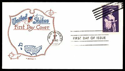 Mayfairstamps US FDC 1980 EDITH WHARTON ARTOPAGES CACHET UNSEALED