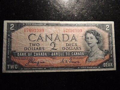 1954 BANK OF CANADA $ 2 TWO DOLLARS C/B 7691999 COYNE TOWERS DEVIL'S FACE BC-30a