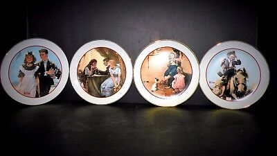 """Complete Set 1982 Norman Rockwell """"Young Love"""" Series CW Collector Plates"""