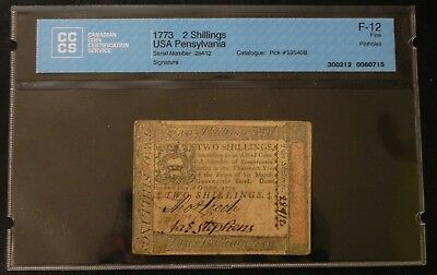 1773 2 Shillings USA Pensylvania Bank Note CCCS Certified F-12