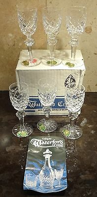"New *VINTAGE* Waterford Crystal POWERSCOURT (1968-) 6 Liqueur Cordial 4 5/8"" BOX"