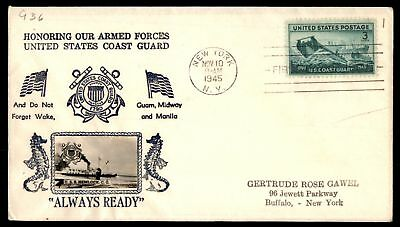 Mayfairstamps US FDC 1945 US COAST GUARD PHOTO CACHET SC 936 SEALED