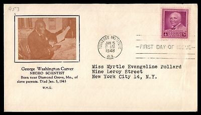 Mayfairstamps US FDC 1948 GEORGE WASHINGTON CARVER CACHET SC 953 UNSEALED