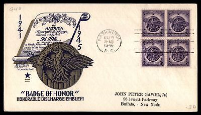 Mayfairstamps US FDC 1946 BADGE OF HONOR BLOCK LW STAEHLE SC 940 UNSEALED