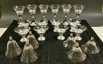 Redlich &co Sterling Silver Antique Cordial & Sherbet vintage etched glass 608g!