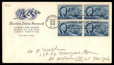 Mayfairstamps US FDC 1946 FRANKLIN D ROOSEVELT US 5c ISSUE BLOCK SC 933 UNSEALED