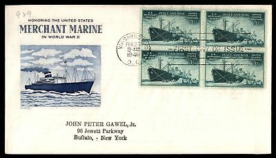 Mayfairstamps US FDC 1946 US MERCHANT MARINE IN WWII BLOCK GRIMSLAND SC 939 UNSE