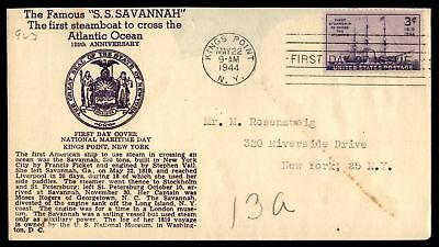 Mayfairstamps US FDC 1944 SS SAVANNAH 125TH ANNIVERSARY SC 923 UNSEALED