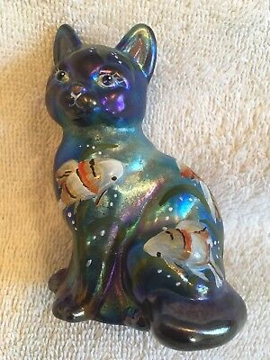 Fenton Blue Carnival Glass Cat Hand Painted Fish On Body By Hayhurst NR