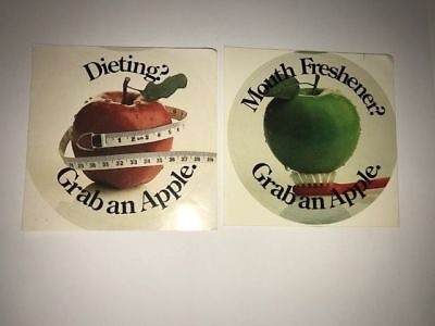 Two Vintage Apples Collectable Rare Advertising Stickers