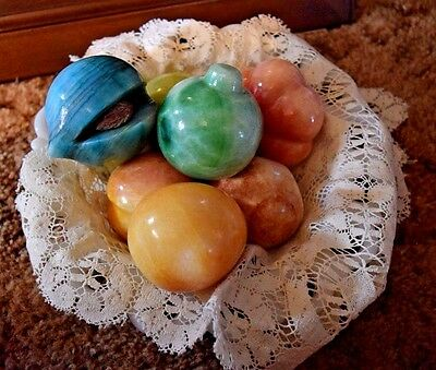7 Pieces Alabaster Fruit All Different