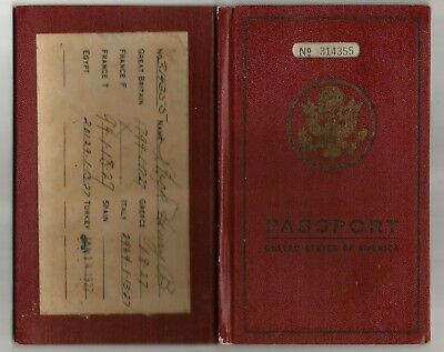 1927 United States Passport with Stamps US Minister Carlisle, Pa