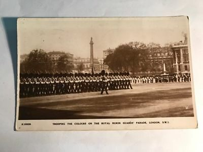Trooping The Colours Royal Guards London Bridge House Photo Antique Postcard