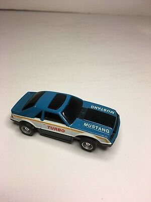 TYCO Slot Car Blue/White Mustang