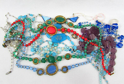 Deco Czech Necklace Lot for Repair and parts - Glass Beads, metal -1920s-30s