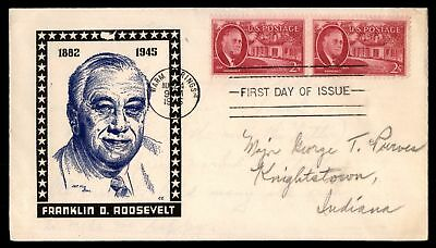 Mayfairstamps US FDC 1945 FRANKLIN D ROOSEVELT US 2c ISSUE PAIR KEN BOLL CACHET