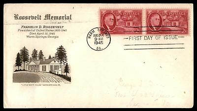Mayfairstamps US FDC 1945 ROOSEVELT MEMORIAL US 2c ISSUE PAIR GRIMSLAND UNSEALED