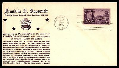 Mayfairstamps US FDC 1945 FRANKLIN D ROOSEVELT US 3c ISSUE CACHET UNSEALED