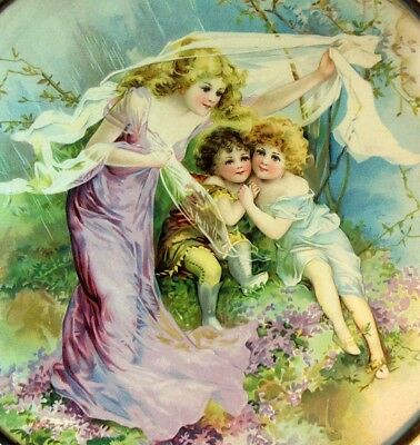 Antique Victorian FLUE Print Art Picture Nymph Mother and Children Charming