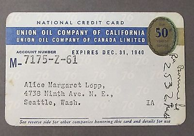 1940 UNION OIL CO. OF CALIF. gasoline credit card & credit card slips UNION 76