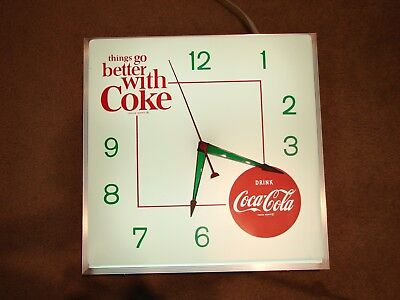 """Rare Vintage Coca Cola Clock Lighted Working 19"""" Things Go Better With Coke"""