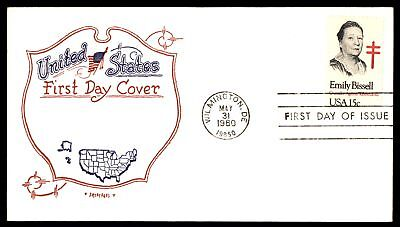 Mayfairstamps US FDC 1980 EMILY BISSELL CRUSADER AGAINST TB ARTOPAGES UNSEALED