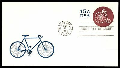 Mayfairstamps US FDC 1980 BICYCLE US 15c ISSUE EMBOSSED UNSEALED