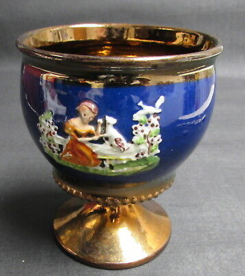 Antique Victorian Staffordshire Copper Luster Goblet Woman & Dog