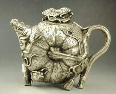 chinese old Tibet silver hand carving  Pumpkin shape teapot