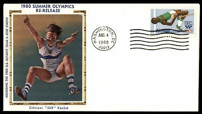 Mayfairstamps US FDC 1980 SUMMER OLYMPICS HIGH JUMP COLORANO SILK UNSEALED