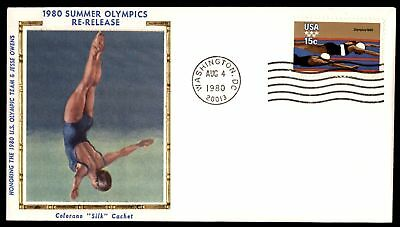 Mayfairstamps US FDC 1980 SUMMER OLYMPICS SWIMMING COLORANO SILK UNSEALED