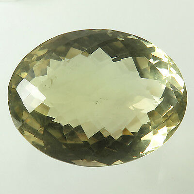 Natural 49x38 mm LEMON QUARTZ Oval Checker Faceted Large Gemstone 330.70 Cts NEW