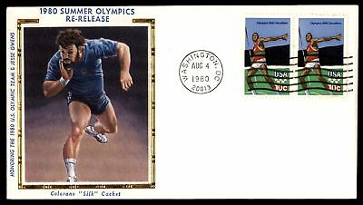 Mayfairstamps US FDC 1980 SUMMER OLYMPICS DECATHLON PAIR COLORANO SILK UNSEALED