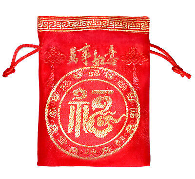 Chinese Fortune Red Brocade Pouches - 10 PC Silk Style Good Luck Gift Bags