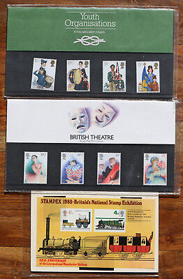 3 UK Stamp presentation packs, early 1980`s